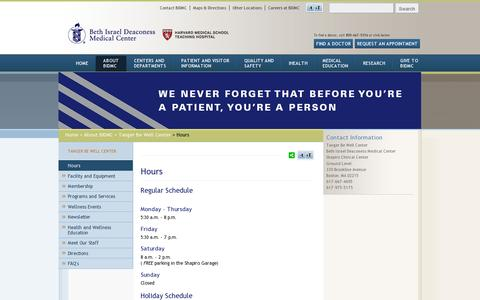 Screenshot of Hours Page bidmc.org - Hours at Beth Israel Deaconess Medical Center - captured July 20, 2014