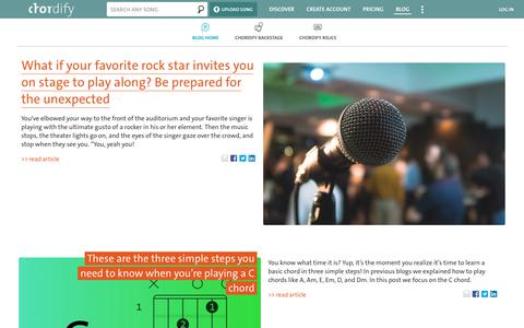 Screenshot of Blog chordify.net - Blog   Chordify   Tune Into Chords   - captured Aug. 9, 2019