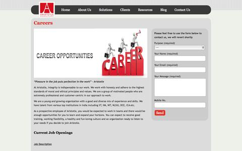 Screenshot of Jobs Page aristotleconsultancy.com - Careers as Virtual CFO, Accounts Managers, CAs for MNCs, Startups, SMEs - captured Oct. 4, 2014
