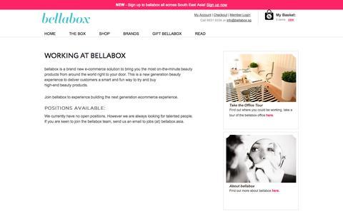 Screenshot of Jobs Page bellabox.sg - Working at Bella | bellabox Singapore - captured Sept. 13, 2014