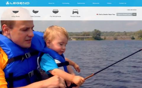 Screenshot of Home Page legendboats.com - Legend Boats - Aluminum Fishing Boats and Pontoons - captured Dec. 8, 2015