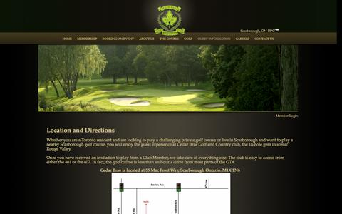 Screenshot of Maps & Directions Page cedarbraegolf.com - Cedar Brae Golf and Country Club - Location and Directions - captured Oct. 2, 2014