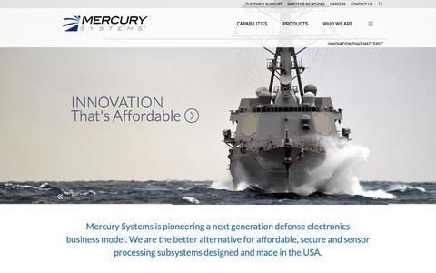 Screenshot of Home Page mrcy.com - Mercury Systems :: Innovation That Matters™ - captured Sept. 12, 2015