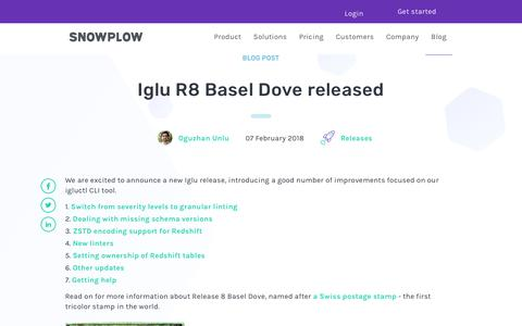 Screenshot of Blog snowplowanalytics.com - Iglu R8 Basel Dove released - captured Feb. 10, 2020