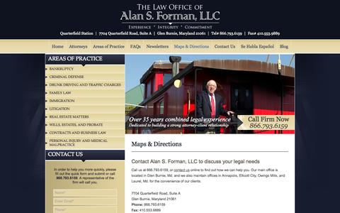 Screenshot of Maps & Directions Page alanformanlaw.com - Directions to the Maryland Law Firm of Alan S. Forman, LLC - captured Oct. 6, 2014