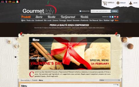 Screenshot of Menu Page gourmetitaly.com - Menu di San Valentino Gourmet - Gourmet Italy - captured Sept. 30, 2014