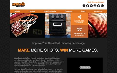 Screenshot of Products Page noahbasketball.com - Noah Technology provides instant feedback to players | Noah Basketball - captured Oct. 31, 2014