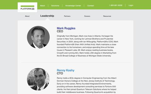 Screenshot of Team Page platform28.com - Leadership | About | Platform28 - captured July 19, 2018