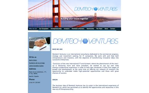 Screenshot of Home Page demtechventures.com - Demtech Ventures - captured Sept. 30, 2014