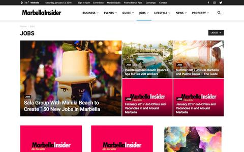 Screenshot of Jobs Page marbellainsider.com - Jobs | Marbella Insider - captured Jan. 13, 2018