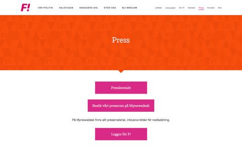 Screenshot of Press Page feministisktinitiativ.se - Press · Feministiskt Initiativ · Feministiskt Initiativ - captured Aug. 13, 2018