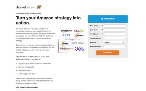 Screenshot of Landing Page channeladvisor.com - ChannelAdvisor Marketplaces | Turn your Amazon strategy into action - captured May 6, 2016