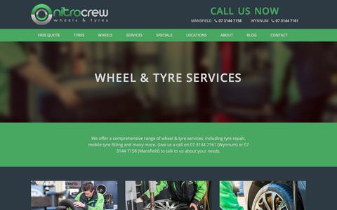 Screenshot of Services Page nitrocrew.com.au - Wheel & Tyre Services - Nitro Crew - captured Feb. 3, 2018