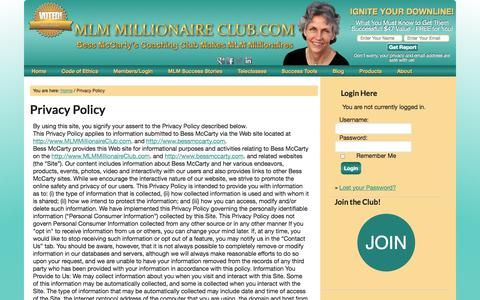 Screenshot of Privacy Page mlmmillionaireclub.com - Privacy Policy — Bess McCarty's Coaching Club makes MLM Millionaires - captured Sept. 23, 2014