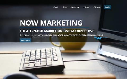 Screenshot of Home Page nowmarketing.co.uk - SMS and Email marketing software - Now Marketing - captured Oct. 18, 2018