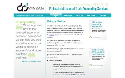 Screenshot of Privacy Page drjaccountants.co.uk - David R Jones Accountants - captured Oct. 5, 2014