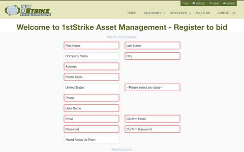 Screenshot of Signup Page 1ststrike.com - Register | 1stStrike Asset Management - captured Oct. 20, 2018