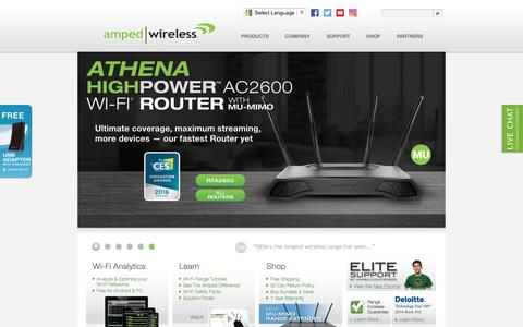 Screenshot of Home Page ampedwireless.com - Amped Wireless - The Leader in High Power, Long Range Wireless Solutions - captured July 25, 2016