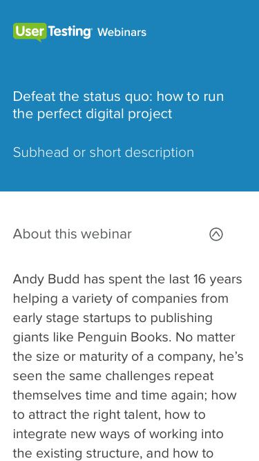 OnDemand Webinar - Defeat the status quo: how to run the perfect digital project | UserTesting
