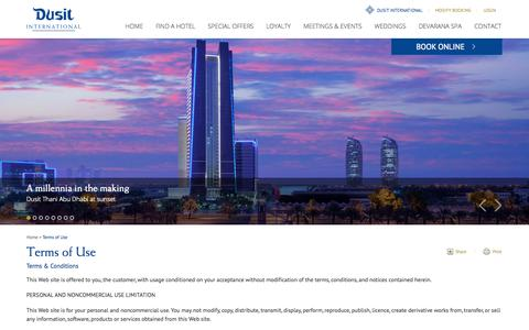 Screenshot of Terms Page dusit.com - Dusit Hotels   Terms of Use   Dusit International - captured Sept. 24, 2014
