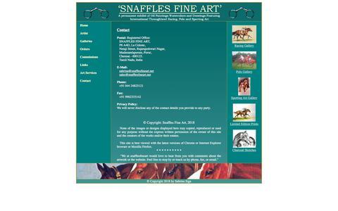 Screenshot of Contact Page snafflesfineart.net - Snaffles Fine Art - captured Feb. 14, 2018