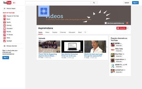 Screenshot of YouTube Page youtube.com - AspireIndiana  - YouTube - captured Oct. 23, 2014