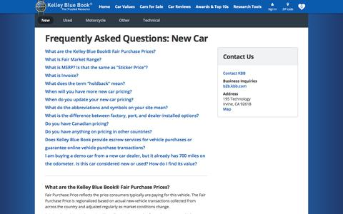 Screenshot of FAQ Page kbb.com - FAQ page - Kelley Blue Book - captured Sept. 13, 2017
