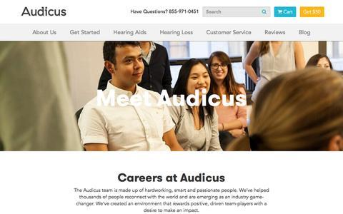 Screenshot of Jobs Page audicus.com - Career Opportunities | Audicus Hearing Aids - captured Oct. 28, 2016