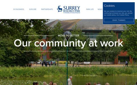 Screenshot of Home Page surrey-research-park.com - Surrey Research Park - captured Oct. 21, 2018