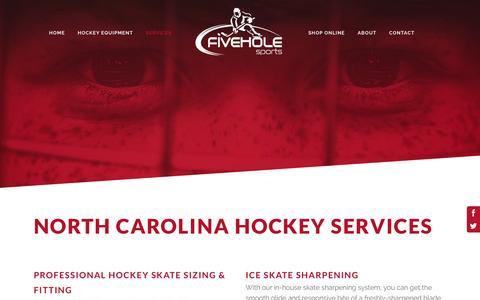 Screenshot of Services Page fiveholesports.com - Five Hole Sports | North Carolina Hockey Services - captured Jan. 8, 2016