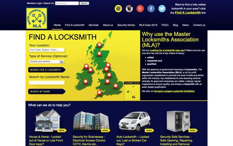Screenshot of Home Page locksmiths.co.uk - Master Locksmiths Association (MLA) Find a Locksmith | Locksmith Training - captured Oct. 17, 2018