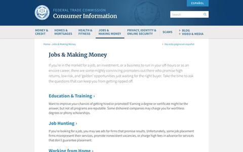 Screenshot of Jobs Page ftc.gov - Jobs & Making Money   Consumer Information - captured Sept. 27, 2018