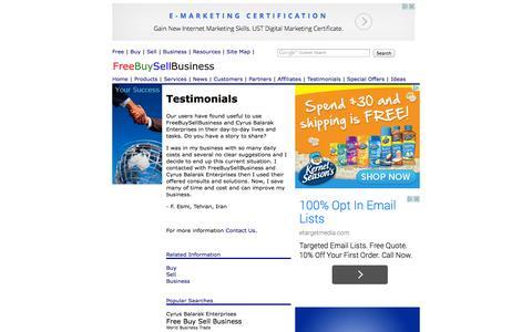 Screenshot of Testimonials Page freebuysellbusiness.com - Testimonials - - by Free Buy Sell Business - captured Oct. 10, 2014