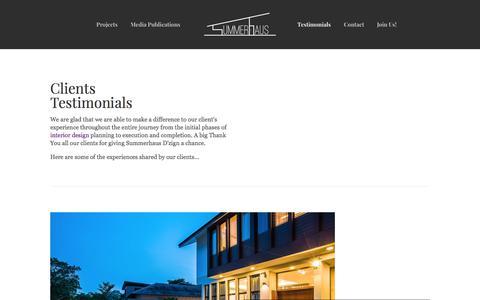 Screenshot of Testimonials Page summerhaus.com.sg - Interior Design Singapore - Modern Interior at its finest | Testimonials - captured Nov. 10, 2017