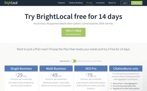Screenshot of Trial Page Pricing Page brightlocal.com - Try BrightLocal Free For 14 Days. Browse Our Local SEO Tool Plans. - captured June 20, 2017