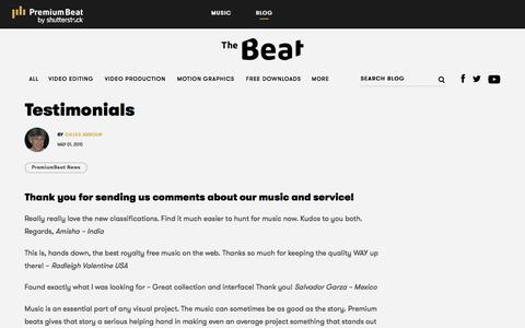 Screenshot of Testimonials Page premiumbeat.com - Testimonials - The Beat: A Blog by PremiumBeat - captured Aug. 6, 2019