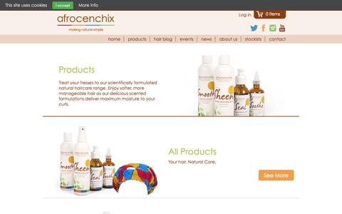 Screenshot of Products Page afrocenchix.com - Afrocenchix - Product Ranges - captured Nov. 2, 2014