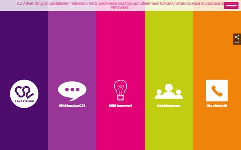 Screenshot of Home Page c2.fi - C2 Advertising - Mainostoimisto C2 Advertising - captured Oct. 1, 2014
