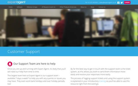 Screenshot of Support Page expertagent.co.uk - Expert Agent Support | Expert Agent Estate & Letting Agent Software - captured Oct. 28, 2014