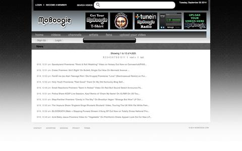 Screenshot of Press Page moboogie.com - News - MoBoogie - videos, streaming radio station, acoustic & live music - captured Sept. 30, 2014