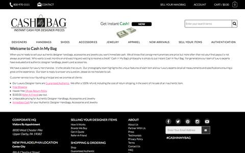 Screenshot of About Page cashinmybag.com - Welcome to Cash In My Bag | Cash In My Bag - captured May 15, 2017