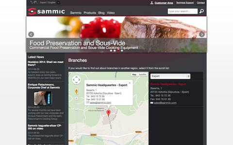 Screenshot of Locations Page sammic.com - Branches :: Sammic - captured Oct. 3, 2014