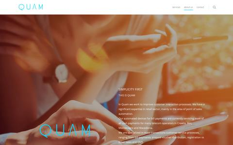 Screenshot of About Page quam.hr - QUAM | ABOUT US - captured Sept. 26, 2018