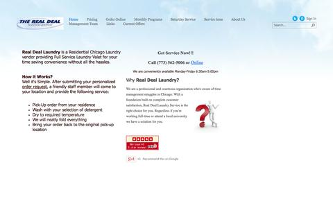 Screenshot of Home Page realdeallaundry.com - Real Deal Laundry Service - captured Oct. 6, 2014