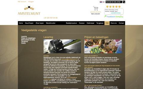 Screenshot of FAQ Page amstelmunt.nl - Veelgestelde vragen  - Begin uw eigen traditie - captured Sept. 30, 2014