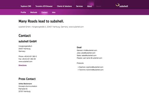 Screenshot of Privacy Page subshell.com - Many Roads lead to subshell.: About - Contact - subshell GmbH - captured June 27, 2018