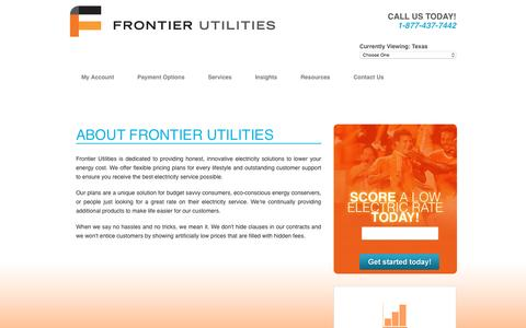 Screenshot of About Page frontierutilities.com - Frontier Utilities - Texas > Contact Us > About Us - captured Jan. 8, 2016