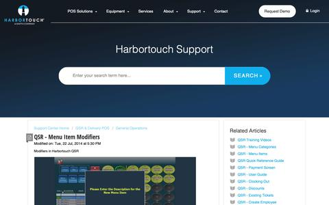 Screenshot of Support Page harbortouch.com - QSR - Menu Item Modifiers : Harbortouch Support Center - captured Oct. 9, 2018