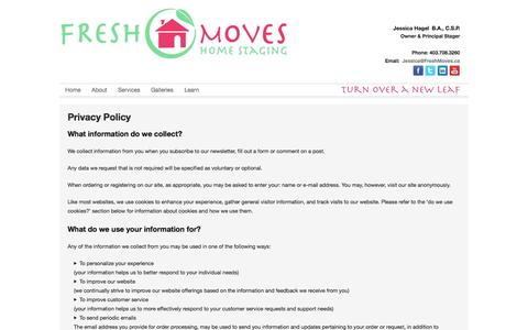 Screenshot of Privacy Page freshmoves.ca - Privacy Policy | Fresh Moves Home Staging - captured Oct. 6, 2014