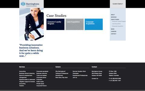 Screenshot of Case Studies Page barringtonsca.com.au - Case Studies   Barringtons - Your Business Advisors - captured Oct. 5, 2014